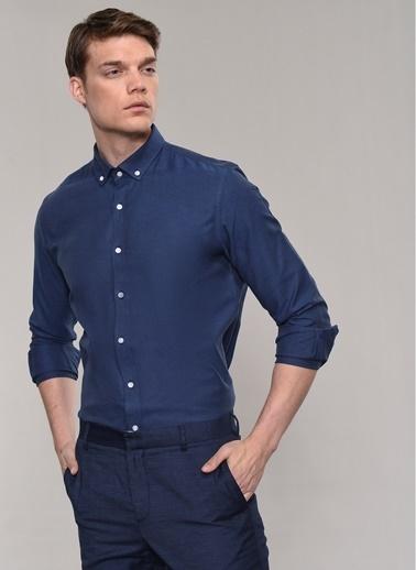 People By Fabrika Oxford Desen Gömlek İndigo